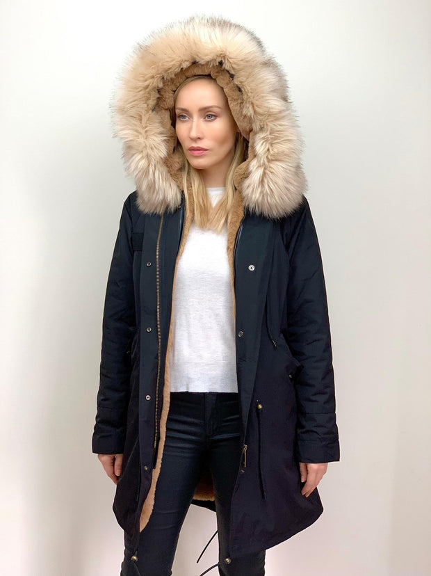 Black Parka with Faux Fur Lining and Collar - Natural