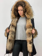 Black Parka with Fox Fur Lining, Cuffs and Front Panels- Natural