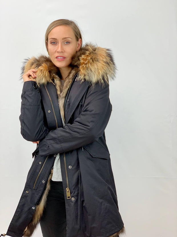 Black Parka with Fox Fur Lining and Raccoon Collar - Natural