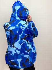 Raincoat in Blue Camouflage Print