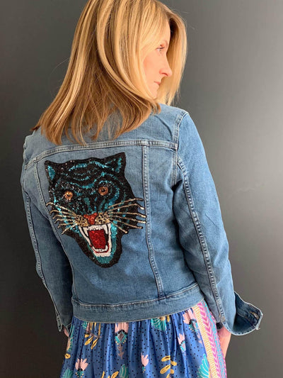 Denim Jacket with Blue Sequin Tiger Embellishment - Taylor Bell
