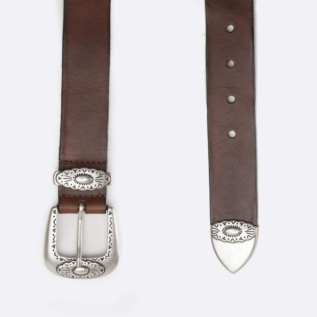 Leather Belt with Silver Buckle- Brown