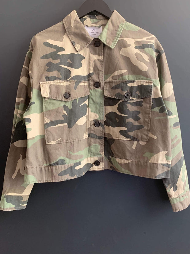 Camouflage Jacket with Embellished Lips Size 10