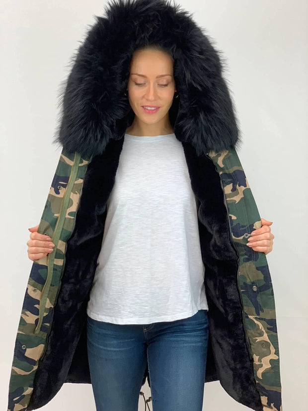 Camouflage Parka with Faux Fur Lining and Faux or Raccoon Collar - Black