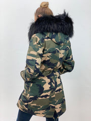 Camouflage Parka with Fox Fur Lining and Raccoon Collar - Black