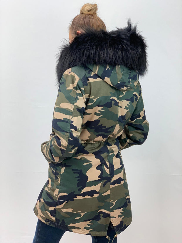 Camouflage Parka with Faux Fur Lining and Raccoon Collar - Black