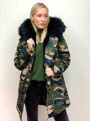 Camouflage Parka with Faux Fur Lining and Collar - Black