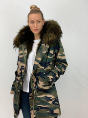 Camouflage Parka with Faux Fur Lining and Raccoon Collar - Green