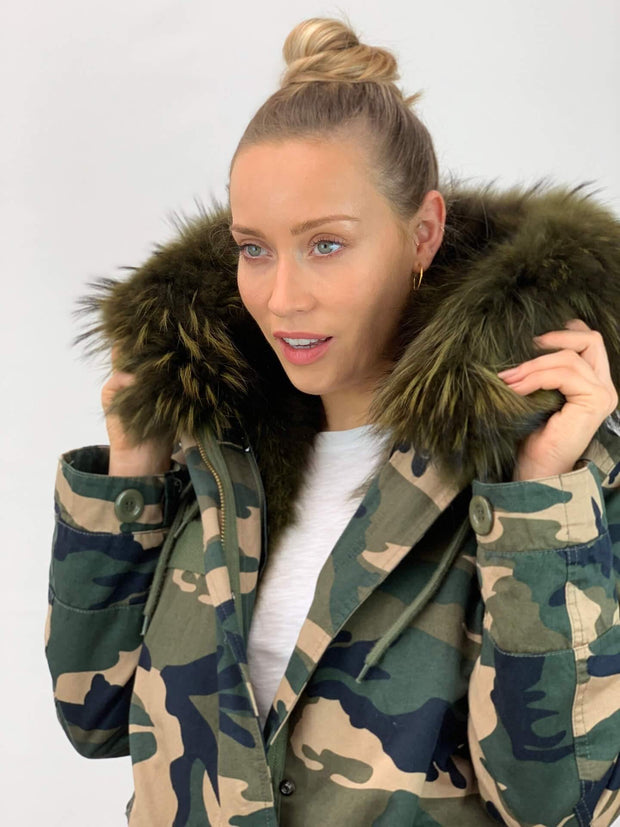 Camouflage Parka with Real Fur Lining and Raccoon Collar - Green