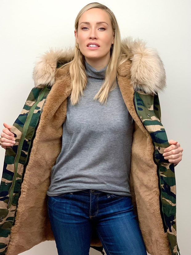Camouflage Parka with Faux Fur Lining and Collar - Natural