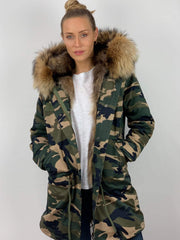 Camouflage Parka with Fox Fur Lining and Raccoon Collar - Natural