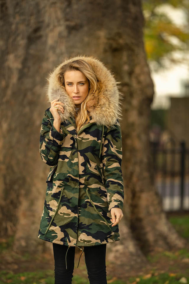Camouflage Parka with Faux Fur Lining and Raccoon Collar - Natural