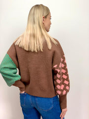 Victoria Patterned Jumper in Oak Brown
