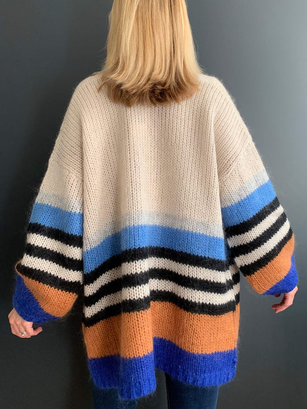 Cream Mohair Oversized Cardigan with Blue, Black and Tan Striped Sleeves