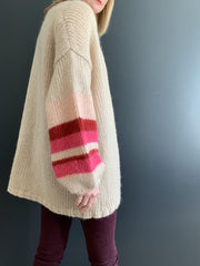 Cream Mohair Oversized Cardigan with Pink and Red Striped Sleeves