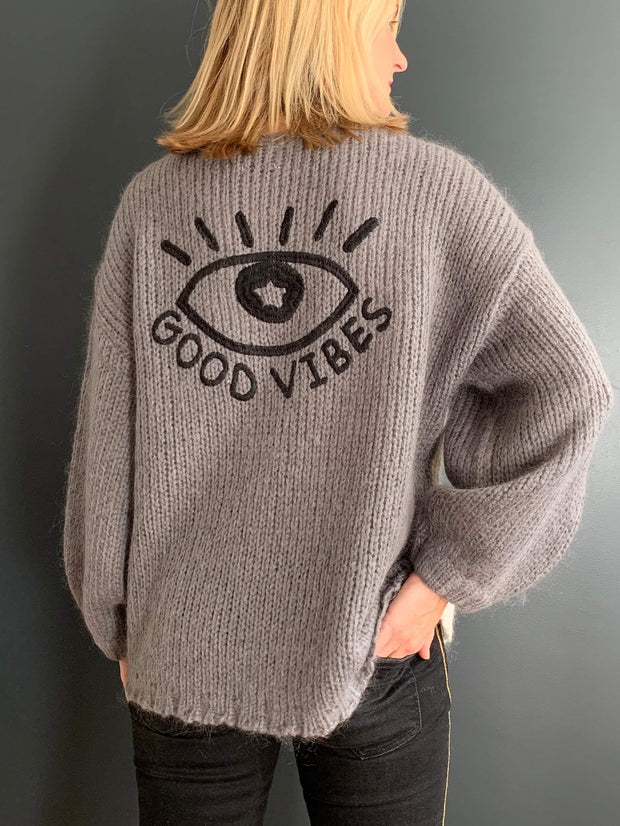 'Good Vibes' Embroidered V-Neck Jumper
