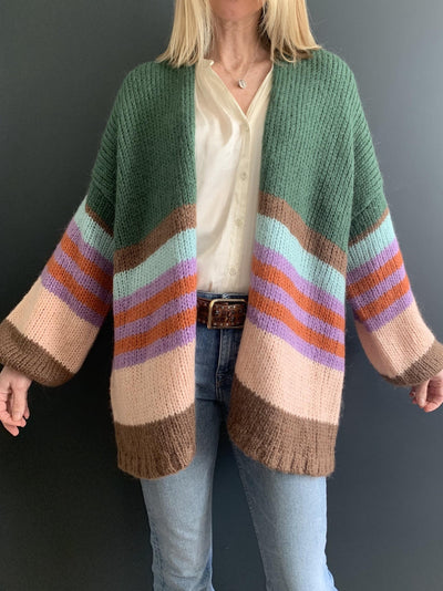 Green Mohair Oversized Cardigan with Multi-Coloured Stripes - Taylor Bell