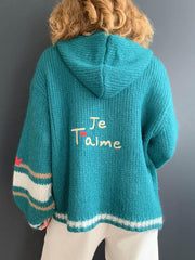 'Je T'aime' Green Oversized Hooded Cardigan