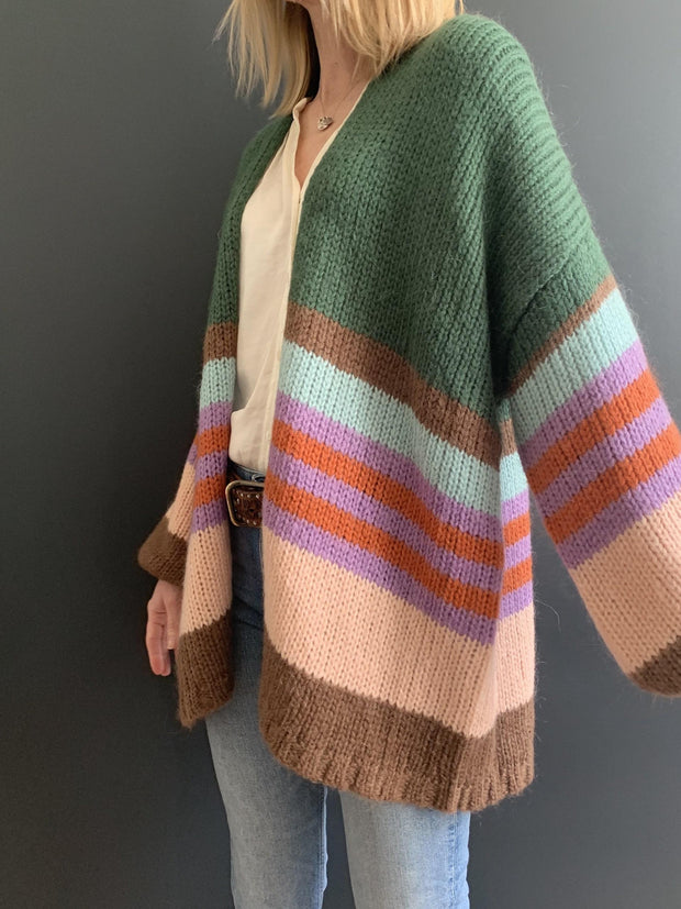 Green Mohair Oversized Cardigan with Multi-Coloured Stripes
