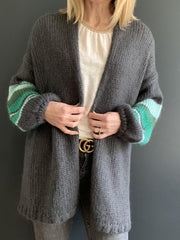 Grey Mohair Oversized Cardigan with Green Striped Sleeves