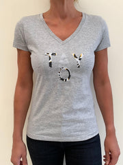 TaylorB T-Shirt in Grey with silver and animal print letters