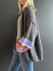 Grey Mohair Oversized Cardigan with Purple and Orange Striped Sleeves - Taylor Bell