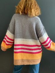 Grey Mohair Oversized Cardigan with Fuschia, Orange and Tan Striped Sleeves
