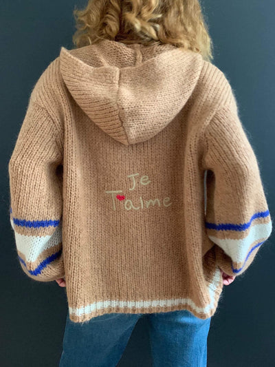 'Je T'aime' Toffee Oversized Hooded Cardigan
