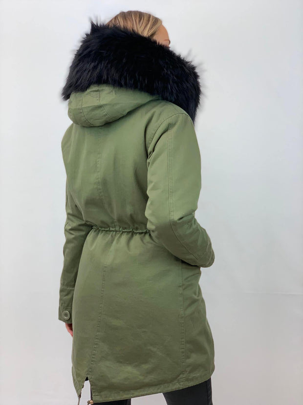 Khaki Parka with Fox Fur Lining and Raccoon Collar - Black