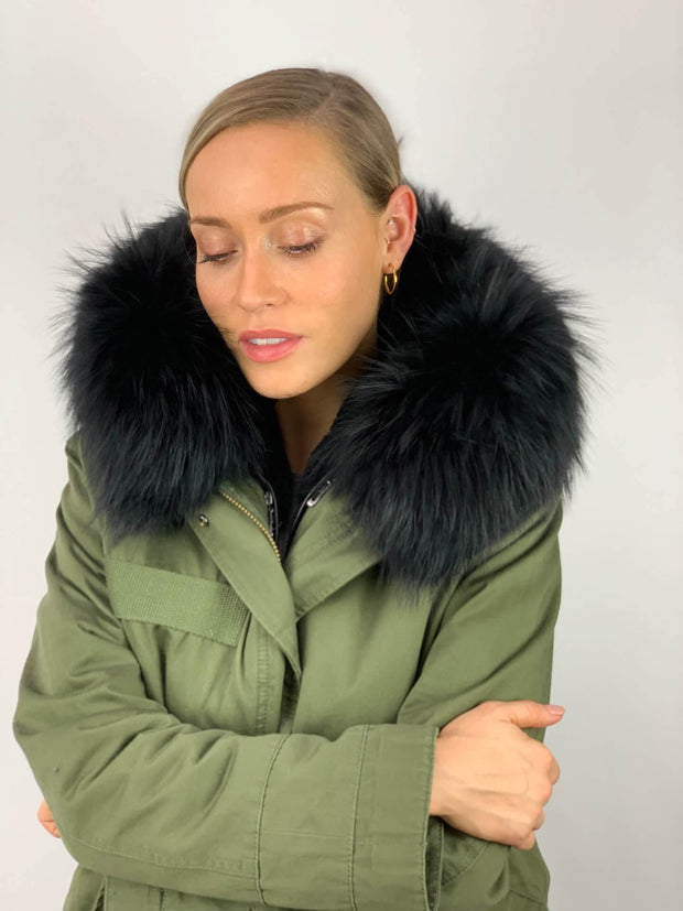 Khaki Parka with Faux Fur Lining and Faux or Raccoon Collar - Black