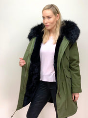 Khaki Parka with Faux Fur Lining and Collar - Black