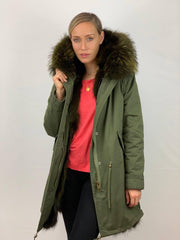 Khaki Parka with Fox Fur Lining and Raccoon Collar and Embellished Tiger- Green