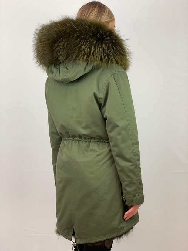 Khaki Parka with Faux Fur Lining and Raccoon Collar - Green