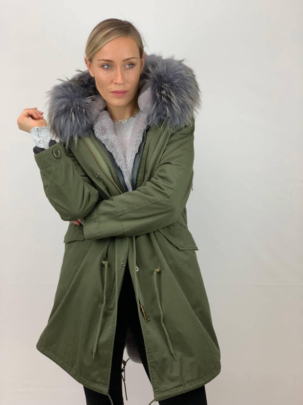 Khaki Parka with Faux Fur Lining and Raccoon Collar - Grey