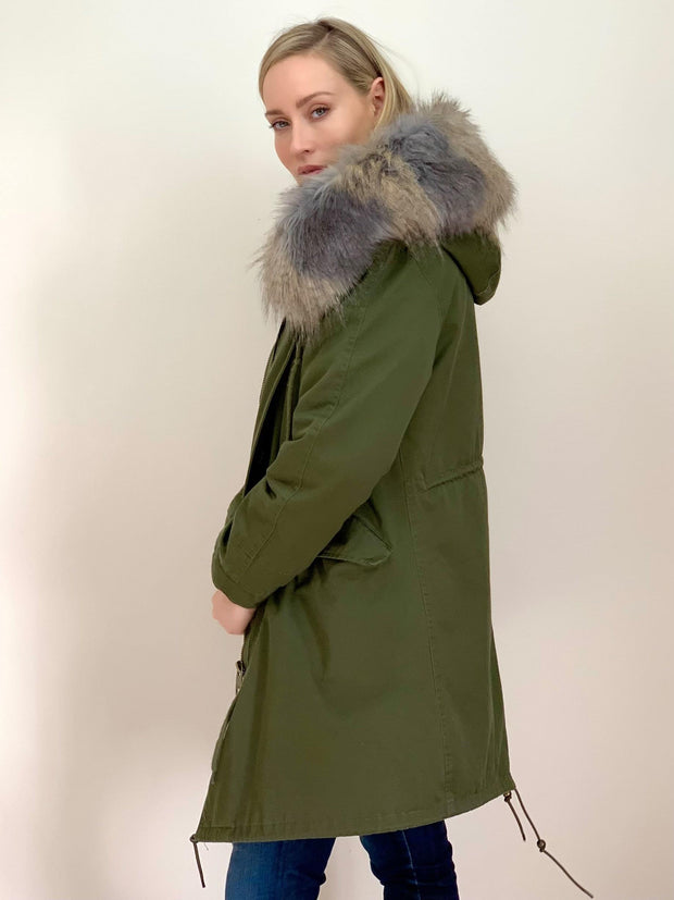 Khaki Parka with Faux Fur Lining and Collar - Grey