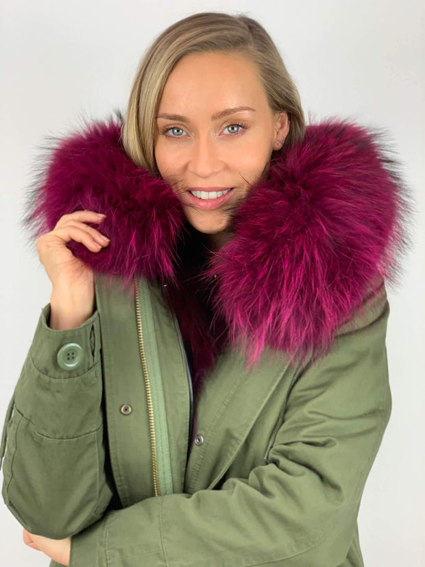 Khaki Parka with Fox Fur Lining and Raccoon Collar - Magenta