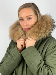 Khaki Parka with Fox Fur Lining and Raccoon Collar - Natural