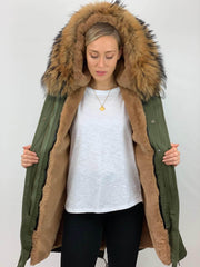 Khaki Parka with Faux Fur Lining and Faux or Raccoon Collar - Natural