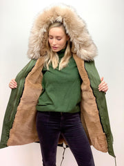 Khaki Parka with Faux Fur Lining and Collar - Natural