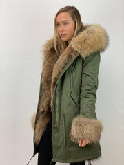 Khaki Parka with Fox Fur Lining, Cuffs and Front Panels- Natural