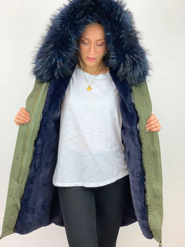 Khaki Parka with Faux Fur Lining and Raccoon Collar -Navy Blue