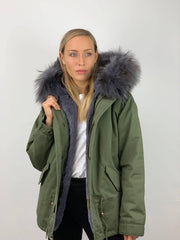 Khaki Parka (shorter length) with Faux Fur Lining and Faux or Raccoon Collar - Grey