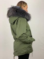 Khaki Parka (shorter length) with Faux Fur Lining and Raccoon Collar - Grey