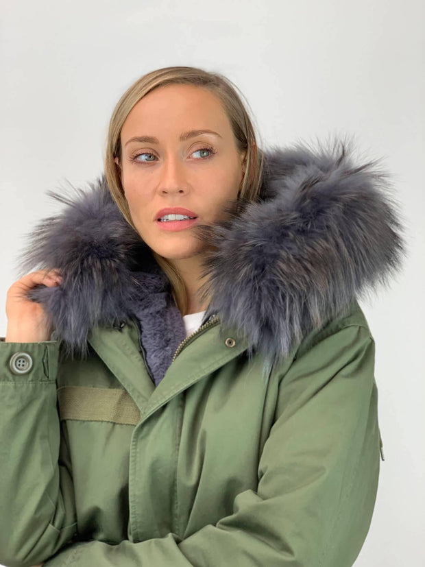 Khaki Parka (shorter length) with Faux Fur Lining and Raccoon or Faux Fur Collar - Grey
