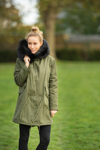 Khaki Parka with real Fox Fur Lining and Raccoon Collar - Black