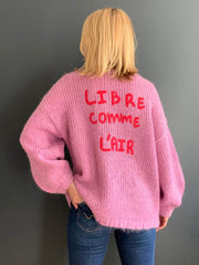 'Libre Comme L'Air' Embroidered V-Neck Jumper
