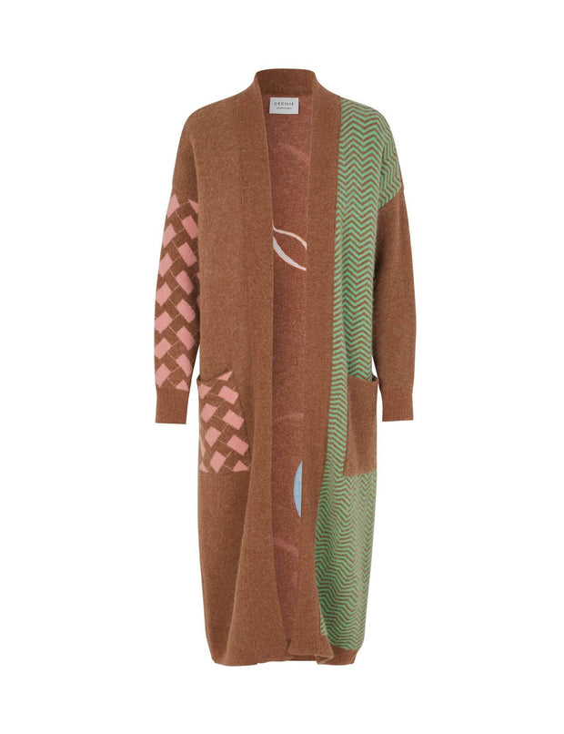 Rosie Long Patterned Cardigan in Oak Brown