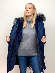 Navy Parka with Navy Faux Fur Lining and Multi-Coloured Collar