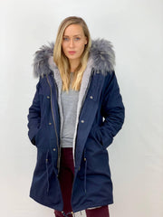 Navy Parka with Faux Fur Lining and Faux or Raccoon Collar - Grey