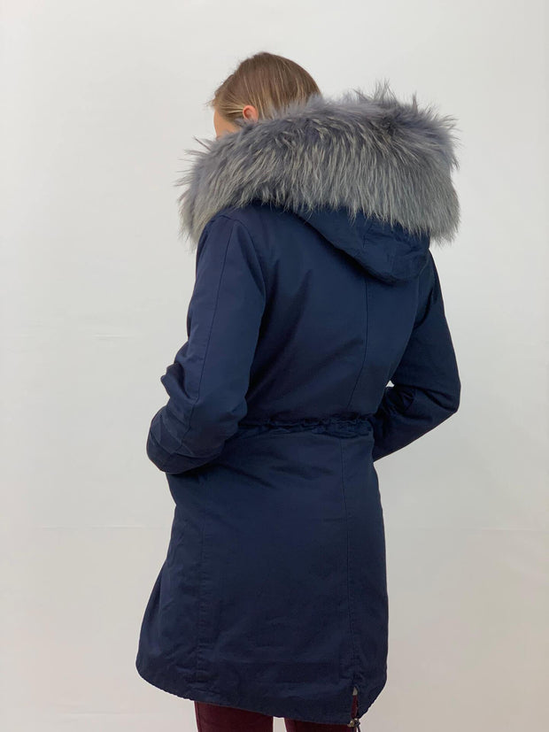Navy Parka with Faux Fur Lining and Raccoon Collar - Grey
